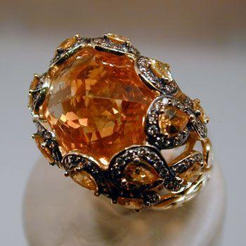 Citrine Honeycomb Ring