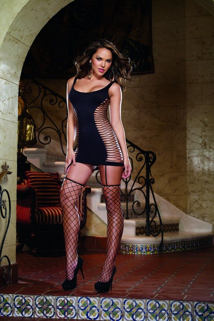baddb3424dd Opaque and fence net garter dress with attached thigh high stockings. 80%  Nylon 20% Spandex