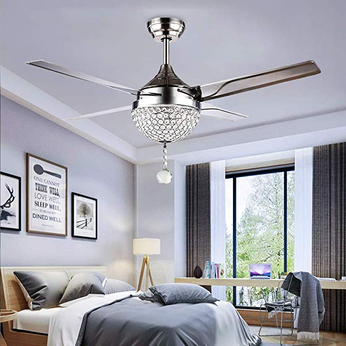 Tropicalfan Crystal Modern Ceiling Fan Remote Control Home