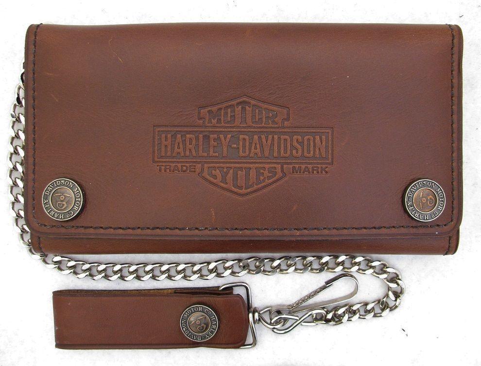 "NOS USA Harley Davidson 7"" Trifold Shovelhead Leather Biker Trucker Chain Wallet"