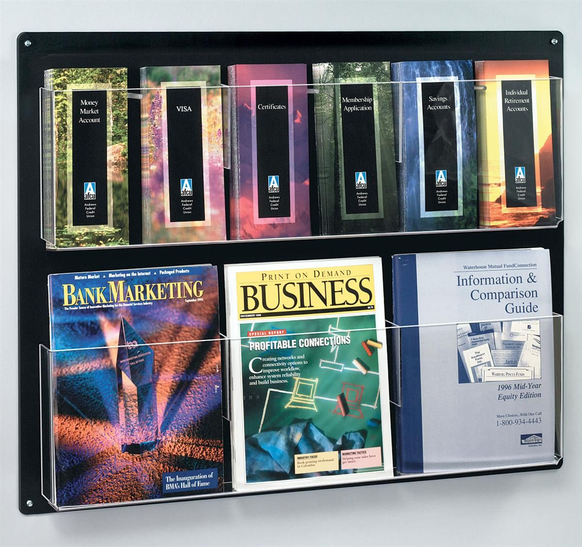 2 Tiered Acrylic Literature Rack For Wall 12 Adjustable Pockets Black Brochure Holders Literature Display Rack Wall Mount