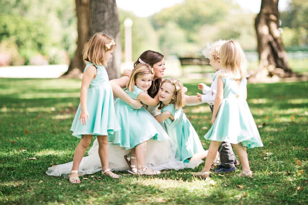 View More: http://oldaniphotography.pass.us/kenniston Mint flowergirl dresses