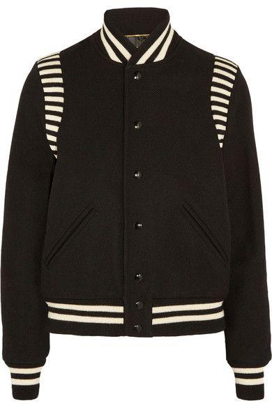 2ec6bd21e Black wool-blend piqué, black and white wool-jersey Snap fastenings ...