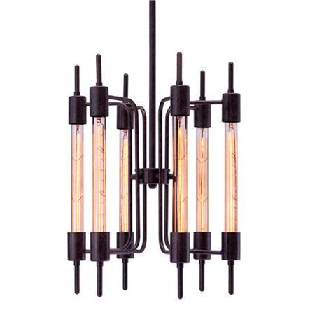 Industrial Tubular Chandelier 6 25 watt lamps