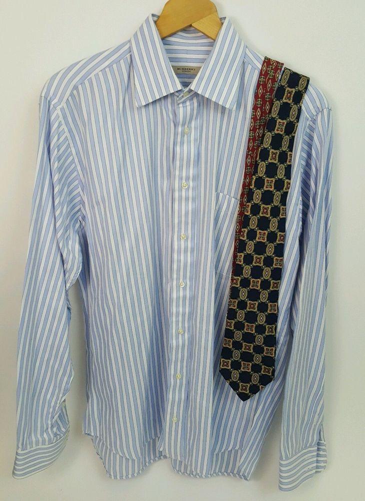 Mens Large Burberry London Long Sleeve Blue Striped Shirt + Tommy Hilfiger Tie #BurberryLondon