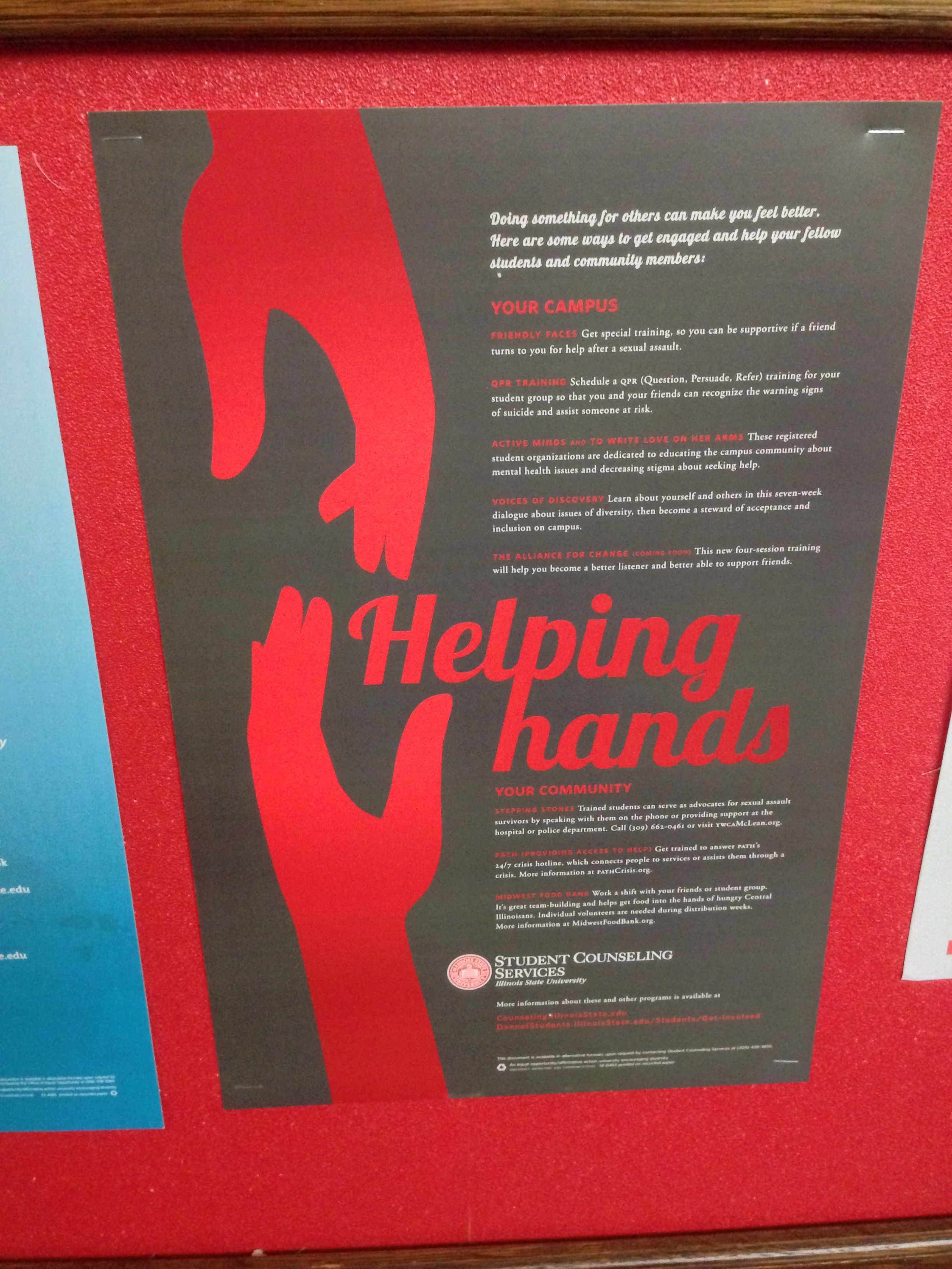 Student Counseling Services Helping Hands Poster Love Design Student Helping Hands