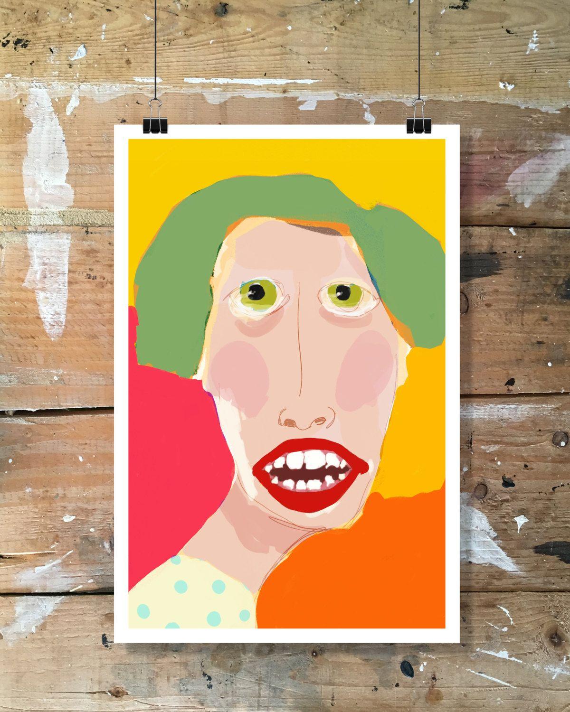Illustration, impression numérique, art contemporain, modernart de la boutique tetedecaboche1965 sur Etsy