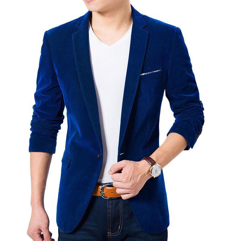 288f5776da4 High Quality Royal Blue Velvet Blazer Men 2016 New Autumn Korean Fashion  Mens Slim Single Button Blazer Jacket Wedding Blazer-in Blazers from Men s  Clothing ...