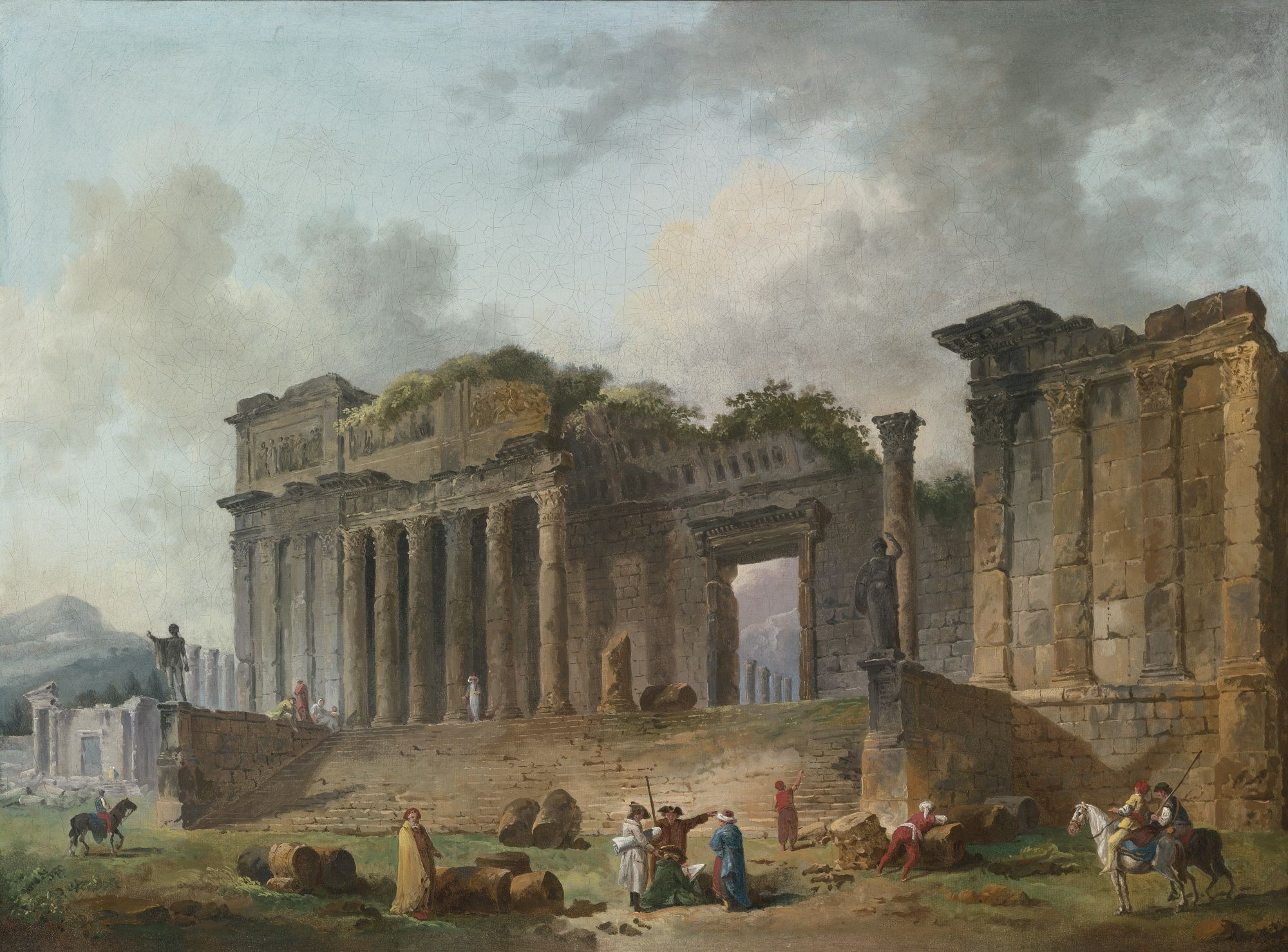 HUBERT ROBERT PARIS 1733 1808 AN ARCHITECTURAL CAPRICCIO WITH AN ARTIST SKETCHING IN THE FOREGROUND