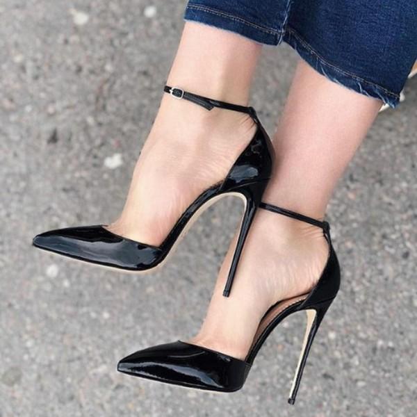 Black Patent Leather Ankle Strap Heels Pointy Toe Stiletto Heel Pumps for Formal event, Party, Dancing club, Music festival, Date, Anniversary, Going out | FSJ #weddingheels #heels #heelslover #strappyheels #heelsimport #chunkyheels #killerheels #stilettoheels #heelsoftheday #heelstagram #laceupheels #blackheels #shoeaddict #heelsaddict #shoelover #shoesday #instaheels #designershoes #shoetrends #iloveheels #iloveshoes #laceupheels