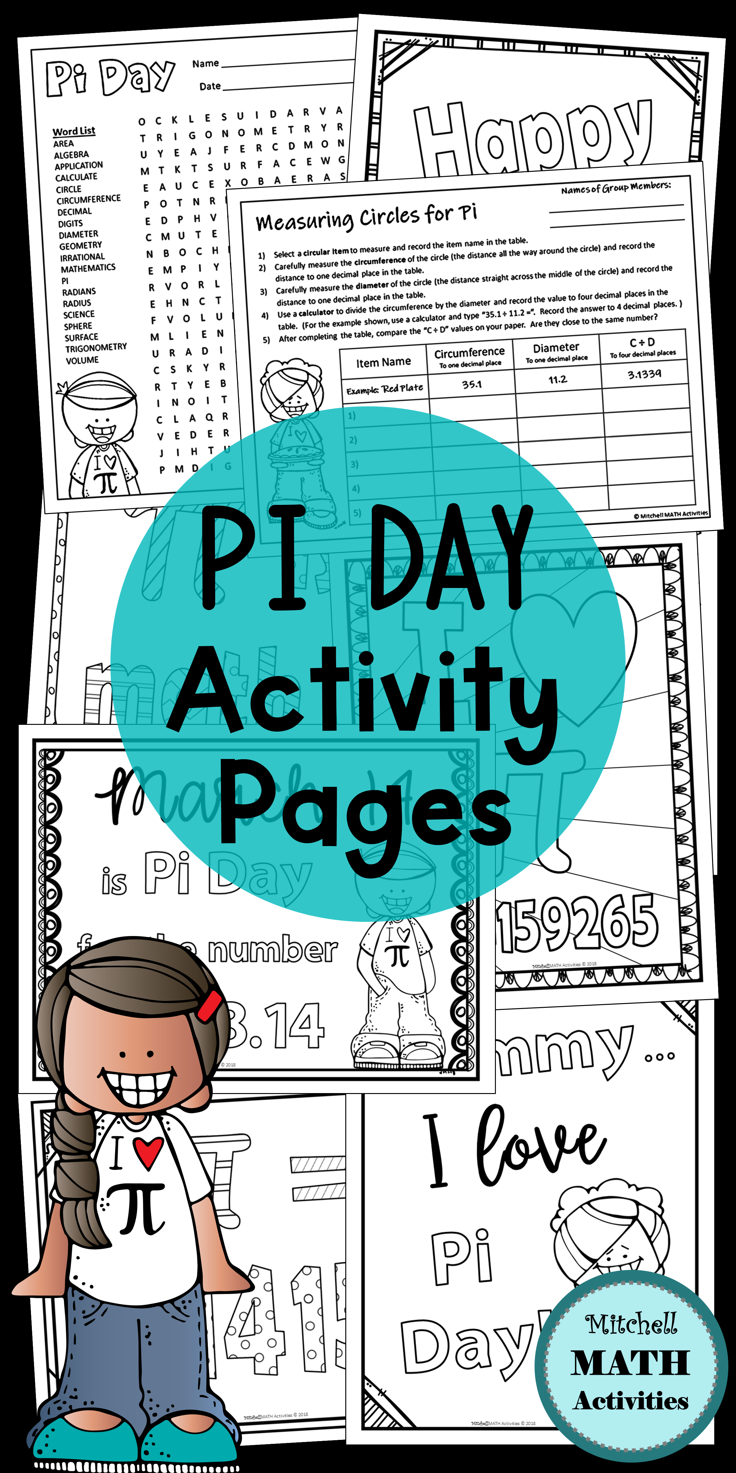 Pi Day Coloring Pages And Measuring Activity Measurement Activities Math Activities Coloring Pages [ 4800 x 2400 Pixel ]