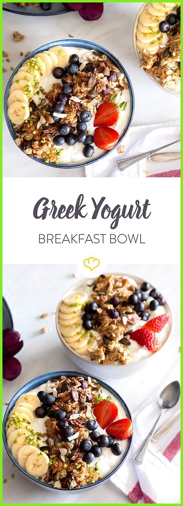 Greek Yogurt Breakfast Bowl mit Blaubeer-Granola und Nüssen #BlaubeerGranola #Bowl #Breakfast #Fitne...