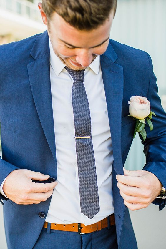 Beach Blue Suit Wedding Groom