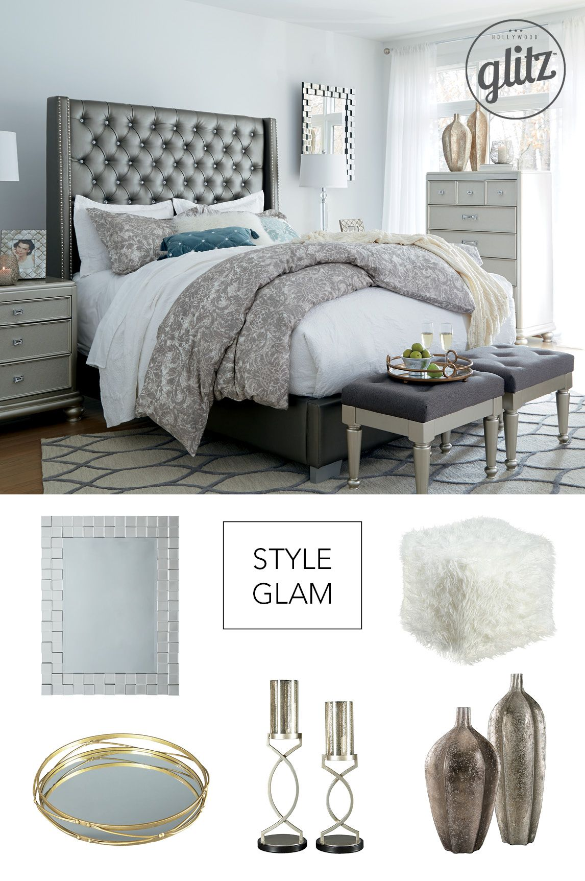 Hollywood glam style for the bedroom! Think upholstered