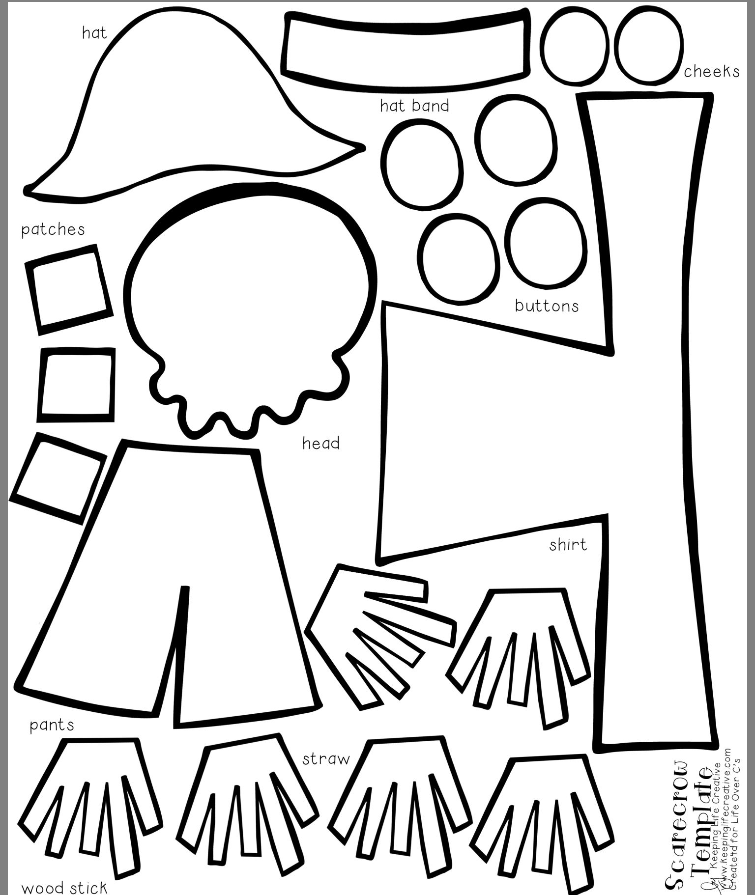 graphic regarding Scarecrow Pattern Printable called Pin by way of Shayla Wiebe upon kindergarten Scarecrow crafts, Drop
