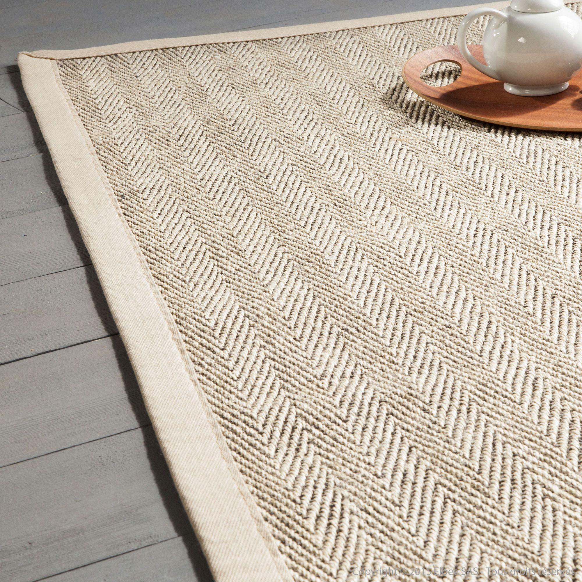 tapis sisal bicolore chevrons avec ganse en coton millstone - Tapis Sisal