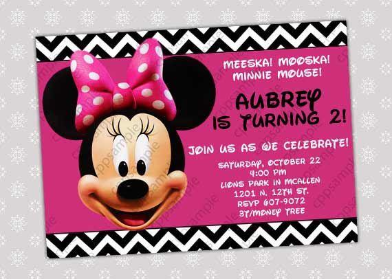 Minnie Mouse Birthday Invitation  Minnie by CreativePartyPixels, $5.50