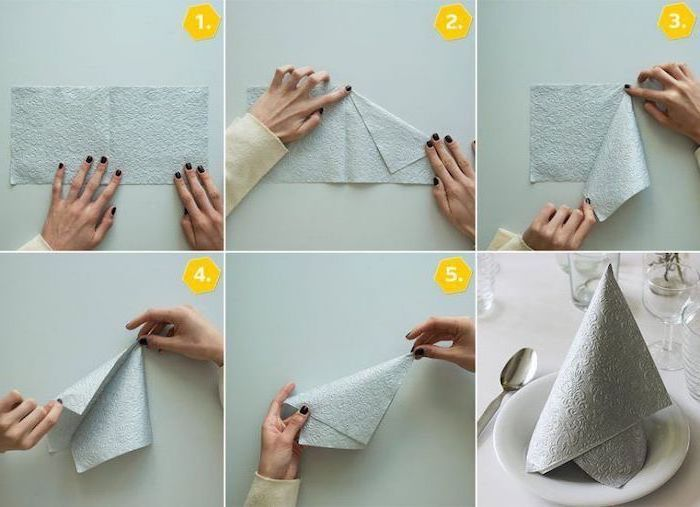 ▷ 1001 + ideas for Insta-worthy napkin folding techniques and tutorials #diynapkinfolding napkin folding with rings, step by step, diy tutorial, grey napkin, on a white plate #diynapkinfolding