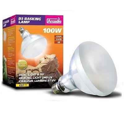 Arcadia D3 Reptile Basking Lamp 100w Heat Light Uv Uva Uvb Ip Lamp Light Arcadia