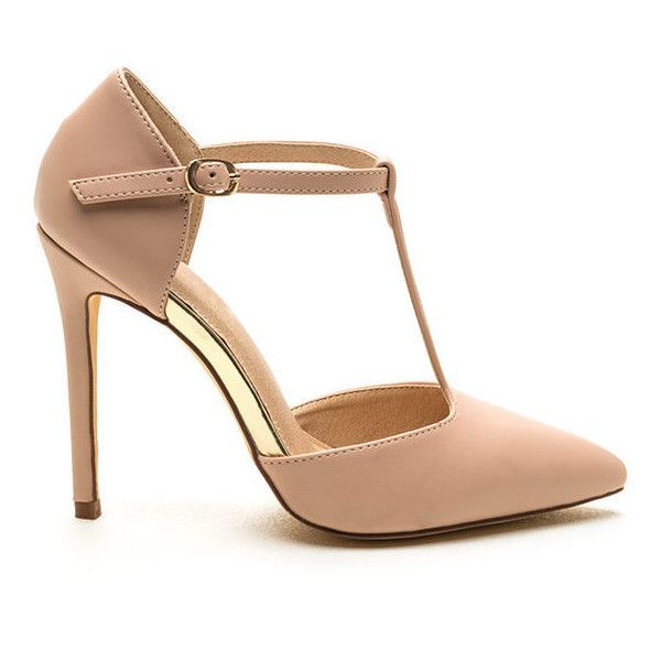 Point Being Faux Leather T-Strap Heels NUDE featuring polyvore women's  fashion shoes pumps tan