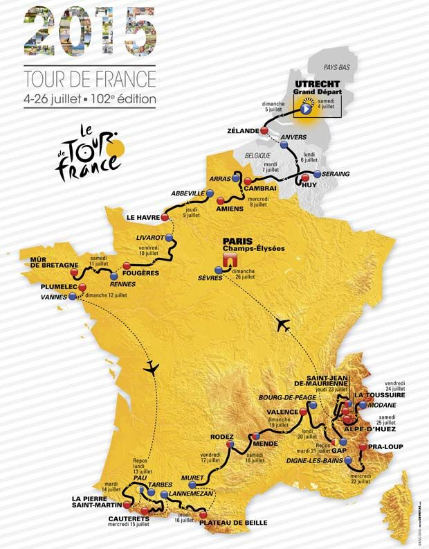 2015 Route Sporting aspects stage cities Tour de France 2015