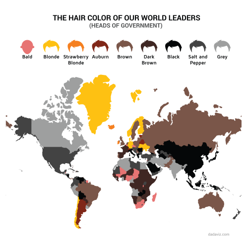 The Hair Color Of Our World Leaders Related Eye Maps On The Web Amazing Maps Map World