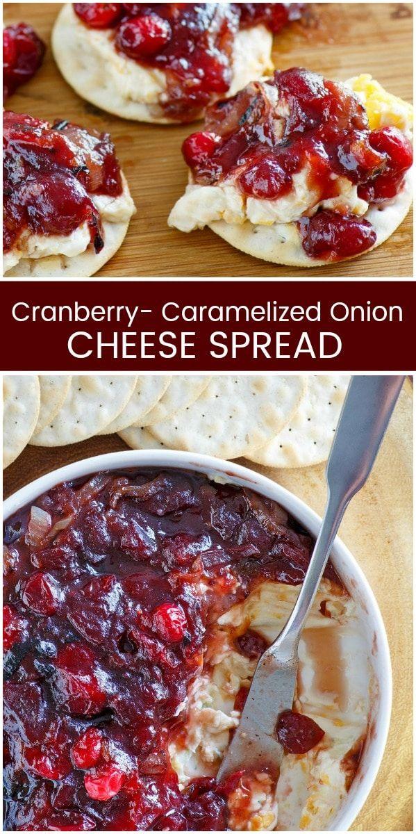 Cranberry Caramelized Onion Cheese Spread recipe from RecipeGirl.com #cranberry #caramelized #onion #caramelizedonion #cheese #spread #dip #fall #thanksgiving #christmas #appetizer #recipe #RecipeGirl via @recipegirl