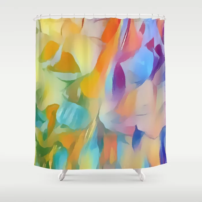 Buy Soft Multi Color Pastel Abstract Shower Curtain By