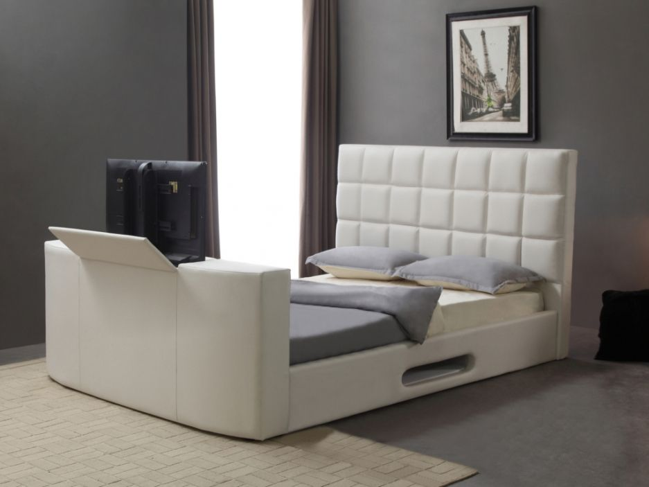 Lit Profusion Avec Systeme Tv Integre 160x200cm Simili Blanc Lit Design Decoration Maison Lit 160x200 Avec Rangement
