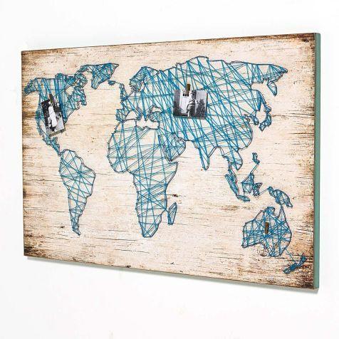Wandbild travel mit weltkarte aus bindfaden vorderansicht - Weltkarte basteln ...