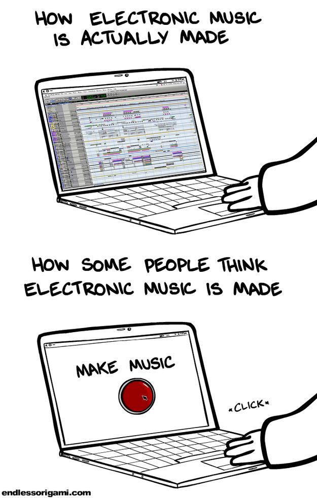 How Electronic Music Is Actually Made Electronic Music Music Humor Edm Music