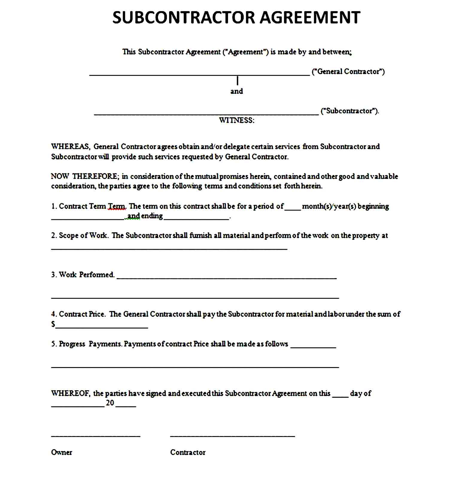 Printable Subcontractor Agreement Subcontractors Business Template Agreement