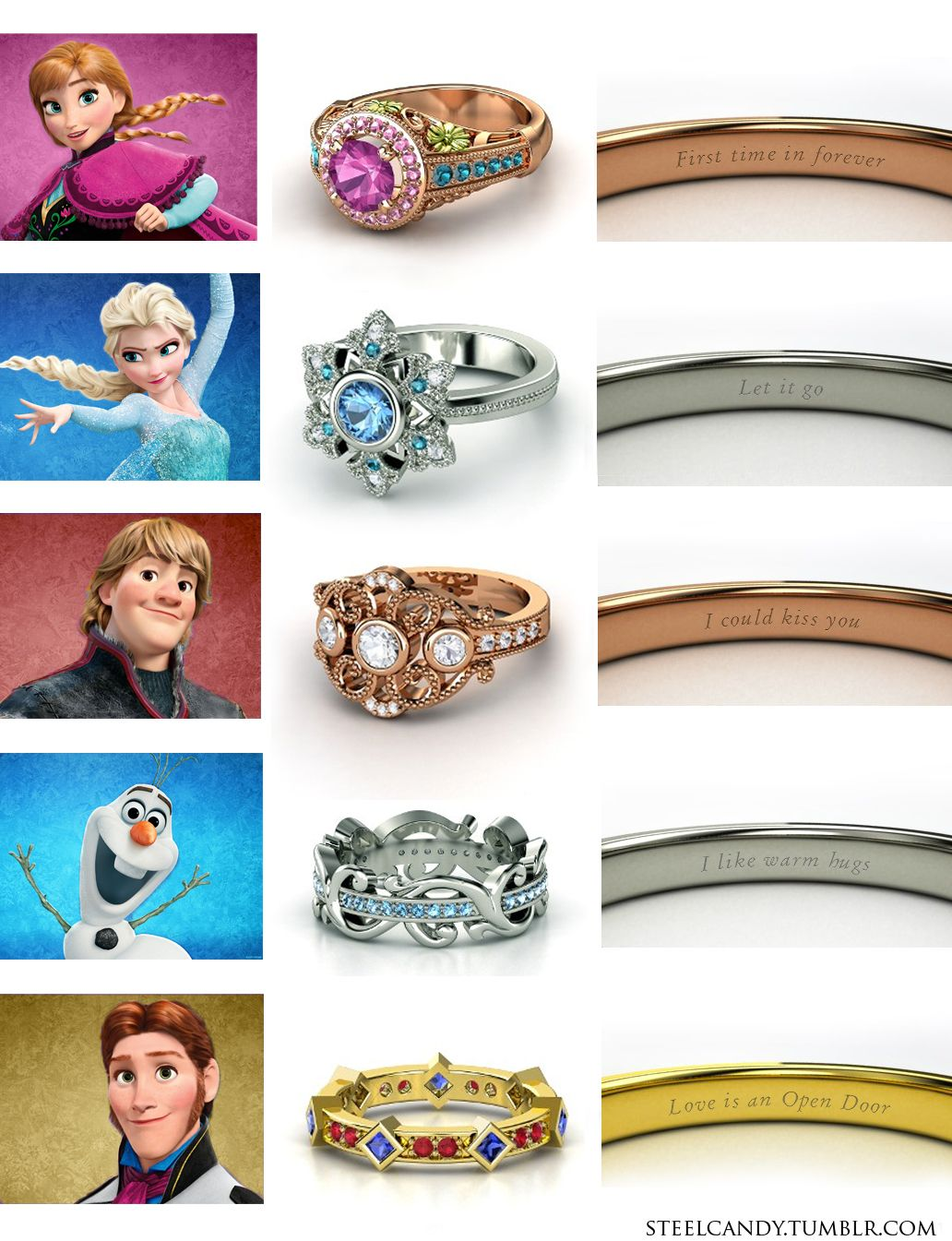 Disney Frozen Engagement Wedding Rings Anna Elsa Kristoff