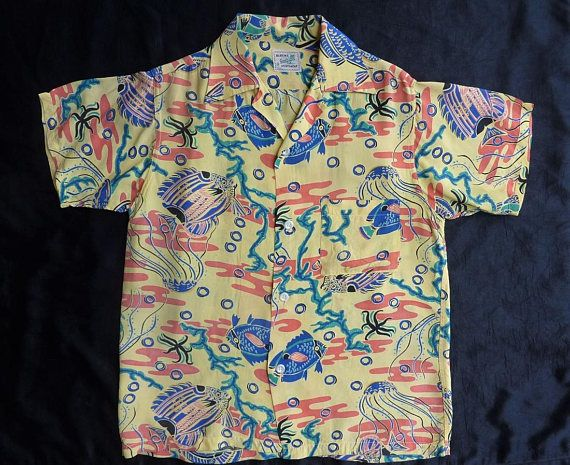 976fb42e6041 Amazing Block s Southland Sportswear Vintage 1950s Men s short sleeved  Aloha Hawaiian Shirt. Small.