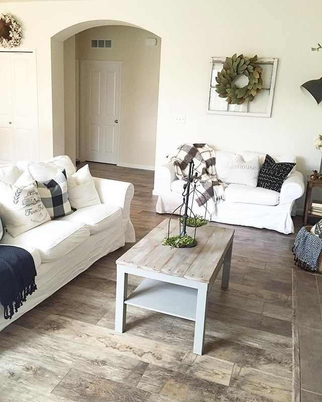 I Ve Had So Many Questions About Our New Floors So I Thought I D Share Really Quick With You Al Laminate Living Room Trendy Living Rooms Farm House Living Room