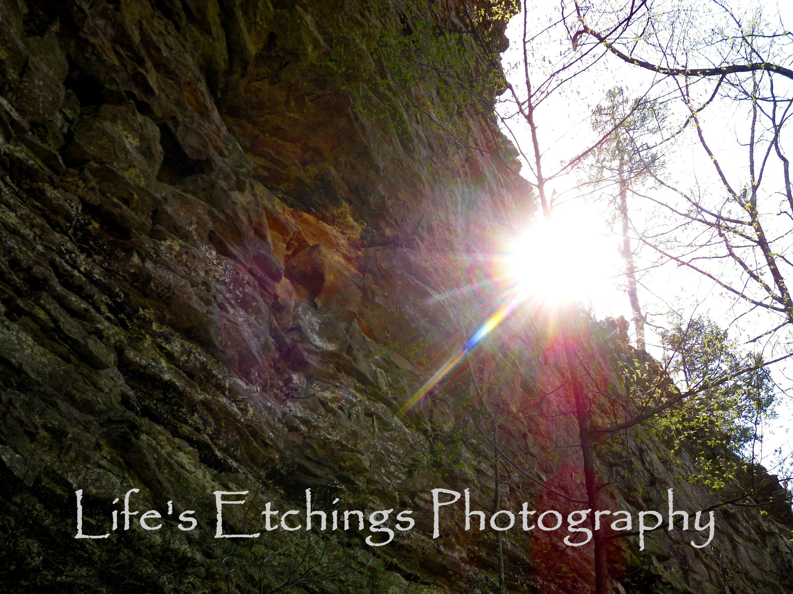 Wow - Sunlight shining over the top of Rock Face - Life's Etchings Photography