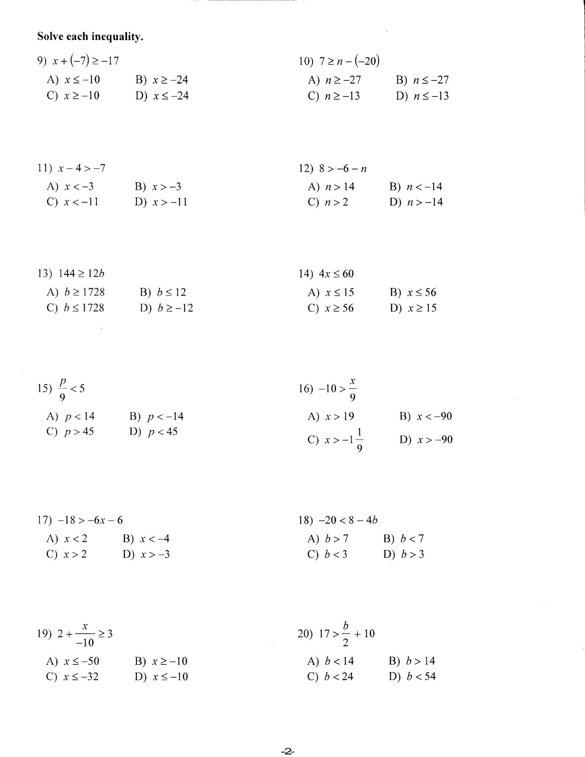6 Legal 8th Grade Pre Algebra Worksheets In