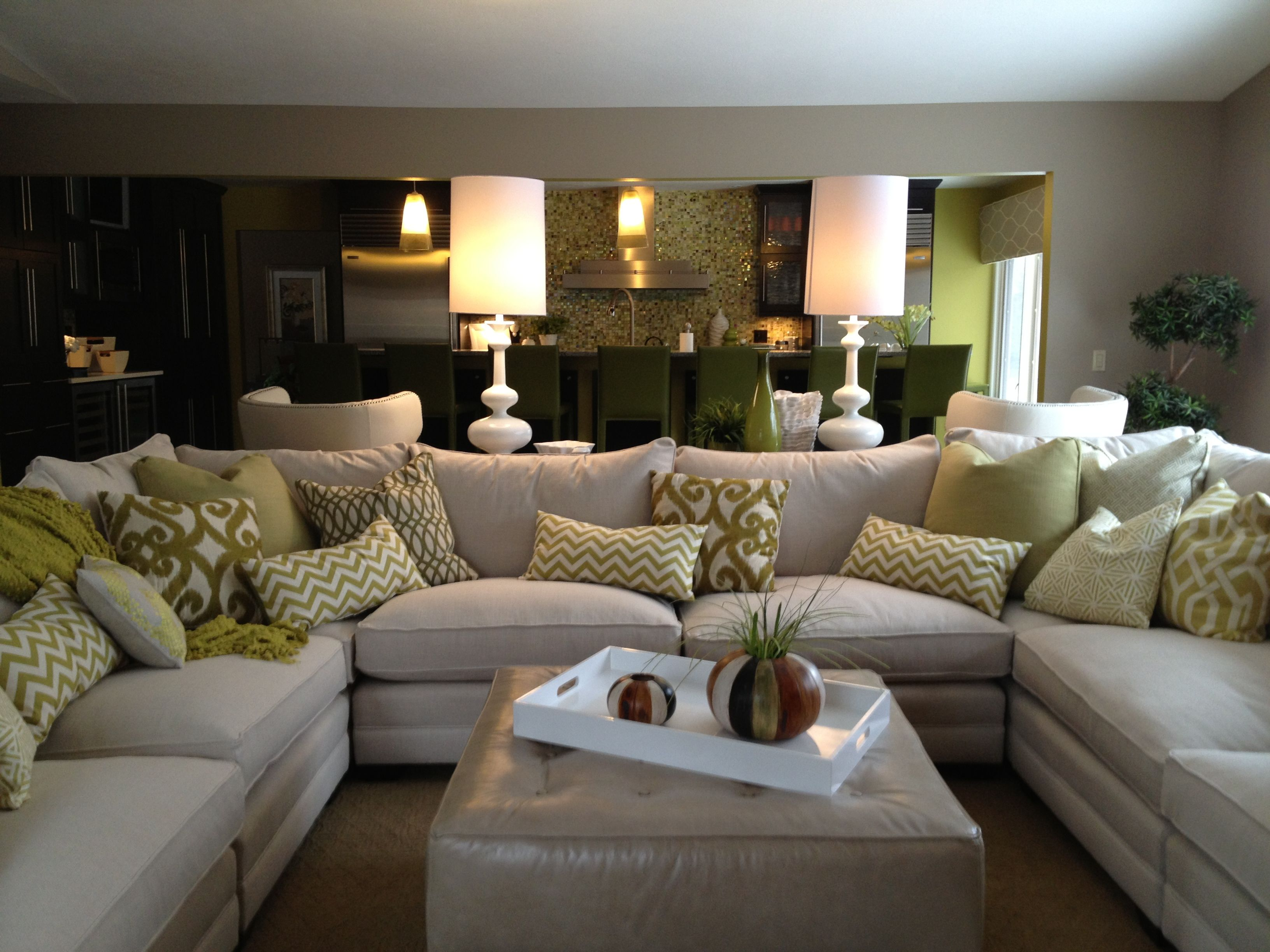 Family Room Sectional, White sofa, White accessories, white lamps, leather  ottoman,