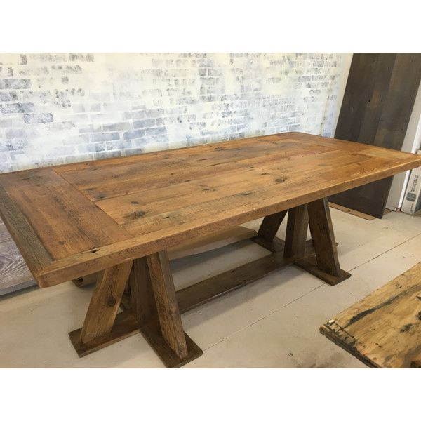 Reclaimed Wood Trestle Base Dining Table Farm 8 Ft 2 500 Liked On Polyvore Featuring Home Furniture Tables