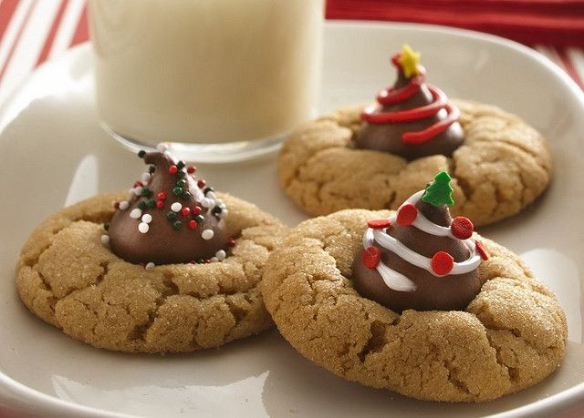 Festive Peanut Butter Blossom Cookies Recipe Christmas cookies