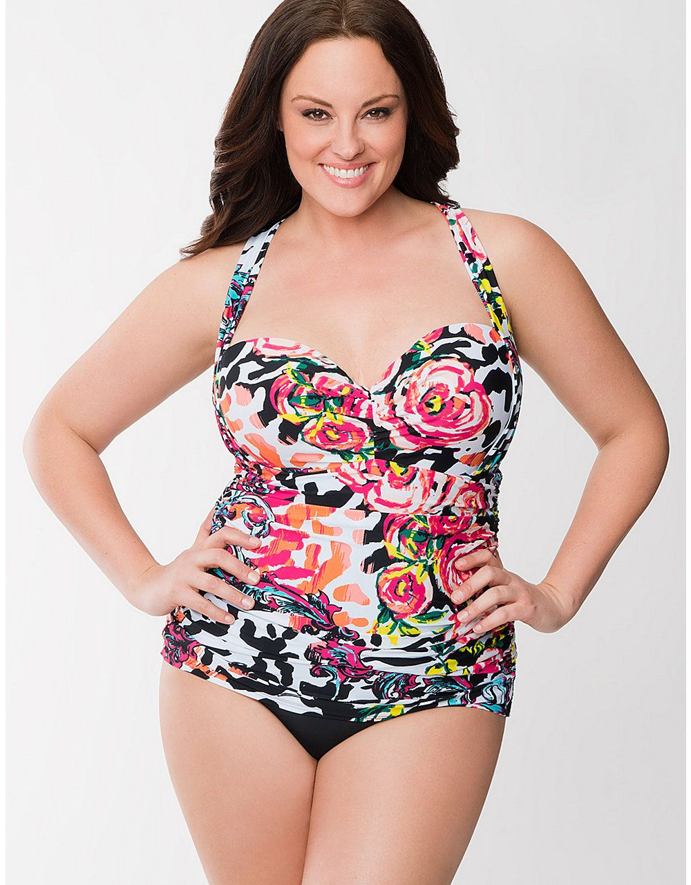 6b917f371a4a5 Floral Maillot Swimsuit With Built In Balconette Bra by Cacique ...
