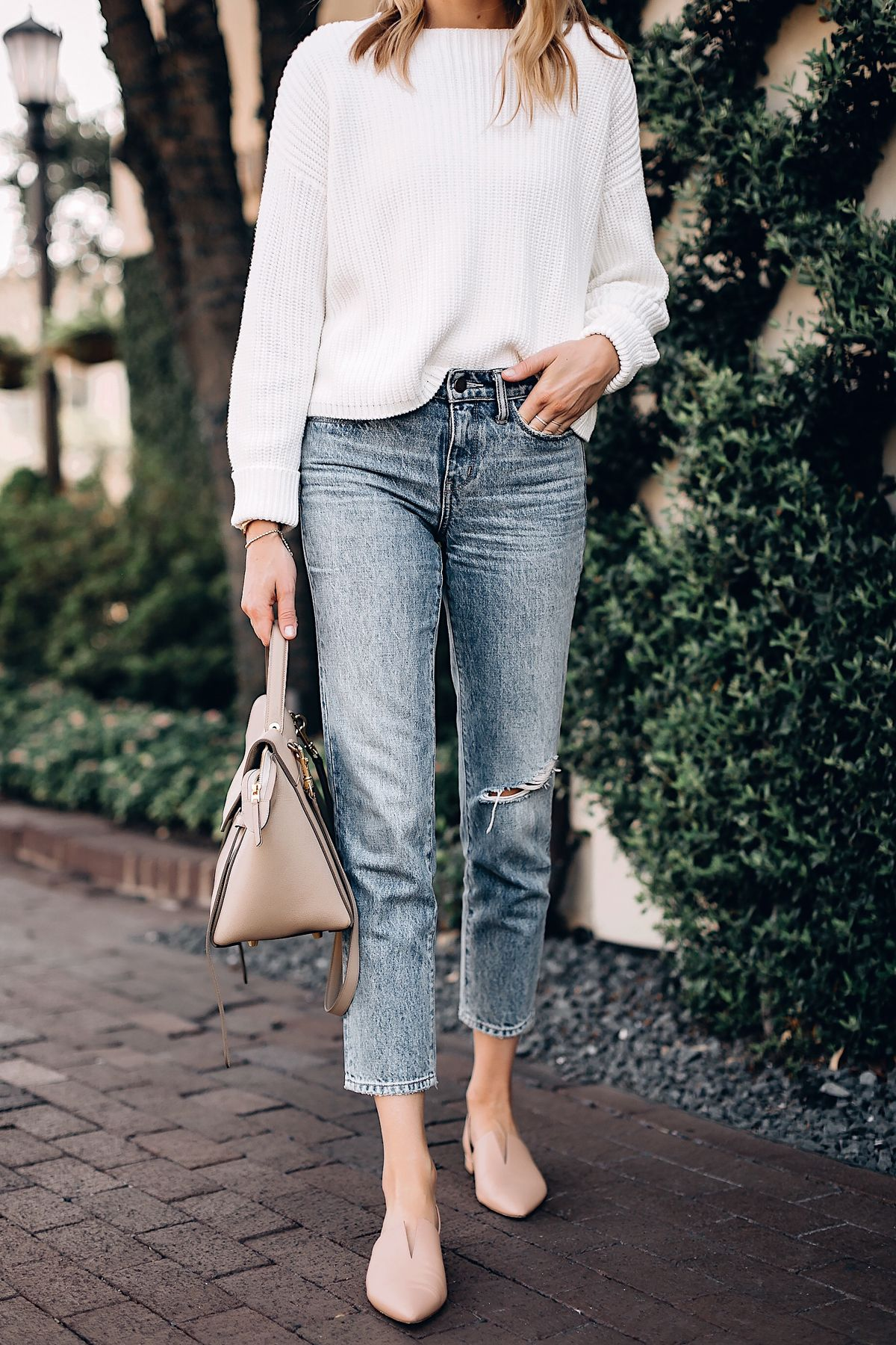 b5087e3762 Blonde Woman Wearing French Connection Millie White Chunky Sweater Denim  Ankle Crop Jeans Celine Mini Belt Bag Vince Blush Flats Fashion Jackson San  Diego ...