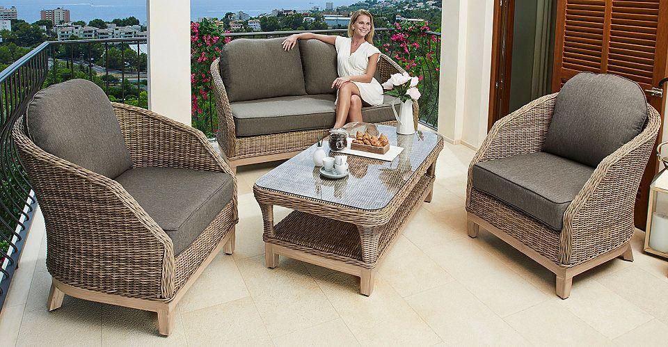 Loungeset Riva 11 Tlg Sofa 2 Sessel Tisch 122x68 Cm