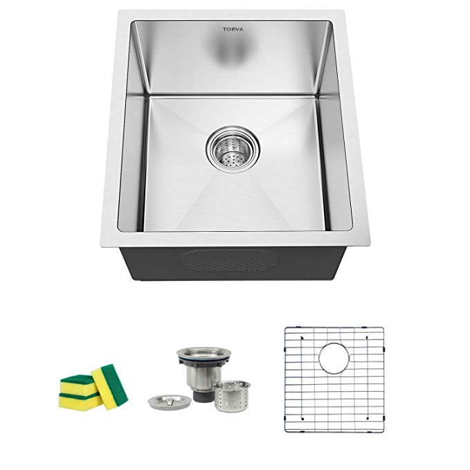 Torva 17 Inch Undermount Kitchen Sink 16 Gauge Stainless Steel Single Bowl 17 X 19 X 9 Inch Deep Bar Prep Basin In 2020 Undermount Kitchen Sinks Kitchen Sink Torva