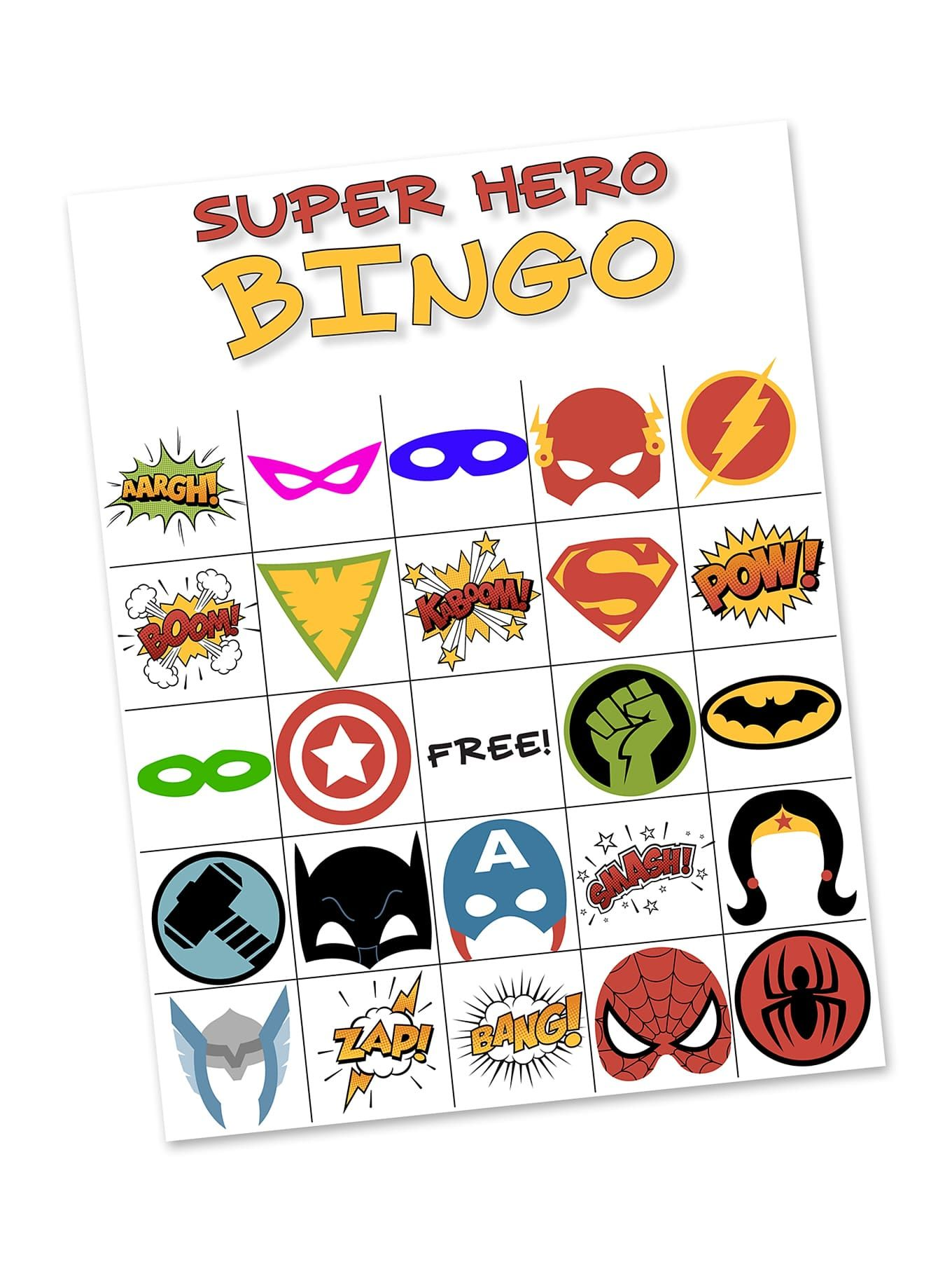Free Printable Super Hero BINGO Party is part of Bingo party, Bingo games, Superhero crafts, Bingo, Games, Bingo cards - Got a superhero fan  This printable Superhero Bingo Game is perfect for birthday parties, library programs, or simply as a fun boredom buster at home