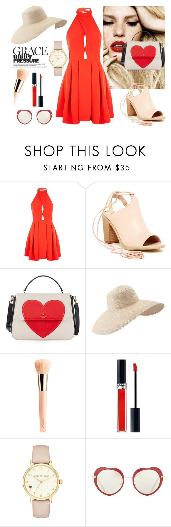 """""""Hot in red"""" by yara-mikhael-deeb ❤ liked on Polyvore featuring Oh My Love, Rebels, Kate Spade, Eric Javits, Guerlain, Christian Dior and Miu Miu"""
