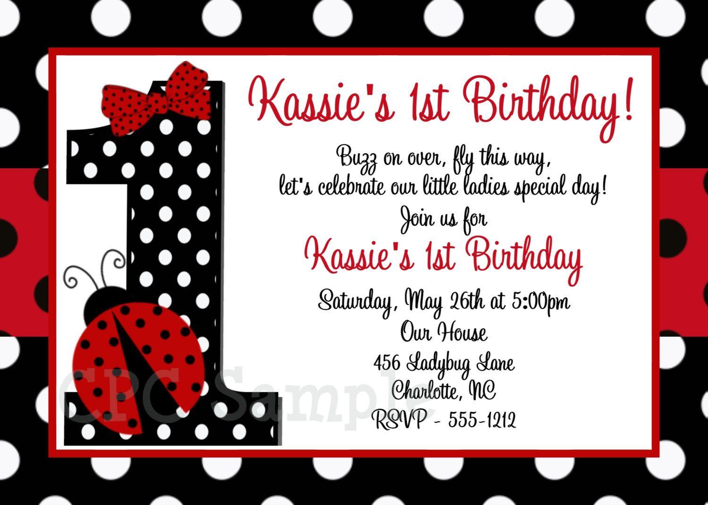 Red and Black Polka Dot Ladybug 1st Birthday Party Invitations ...