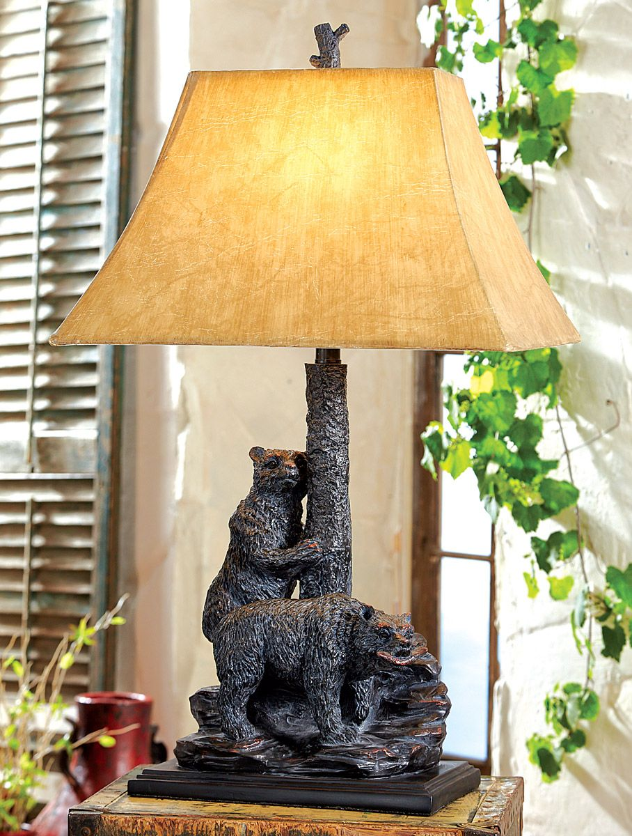 Tree Climbing Bears Accent Lamp   A Black Forest Decor Exclusive   Add  Warmth, Light And Character To Any Room With This One Of A Kind Cast Iron Table  Lamp.