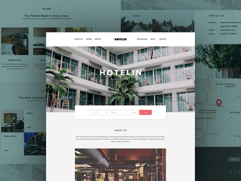 Hotelin Website Template PSD Free Download | Beraksi | Pinterest ...
