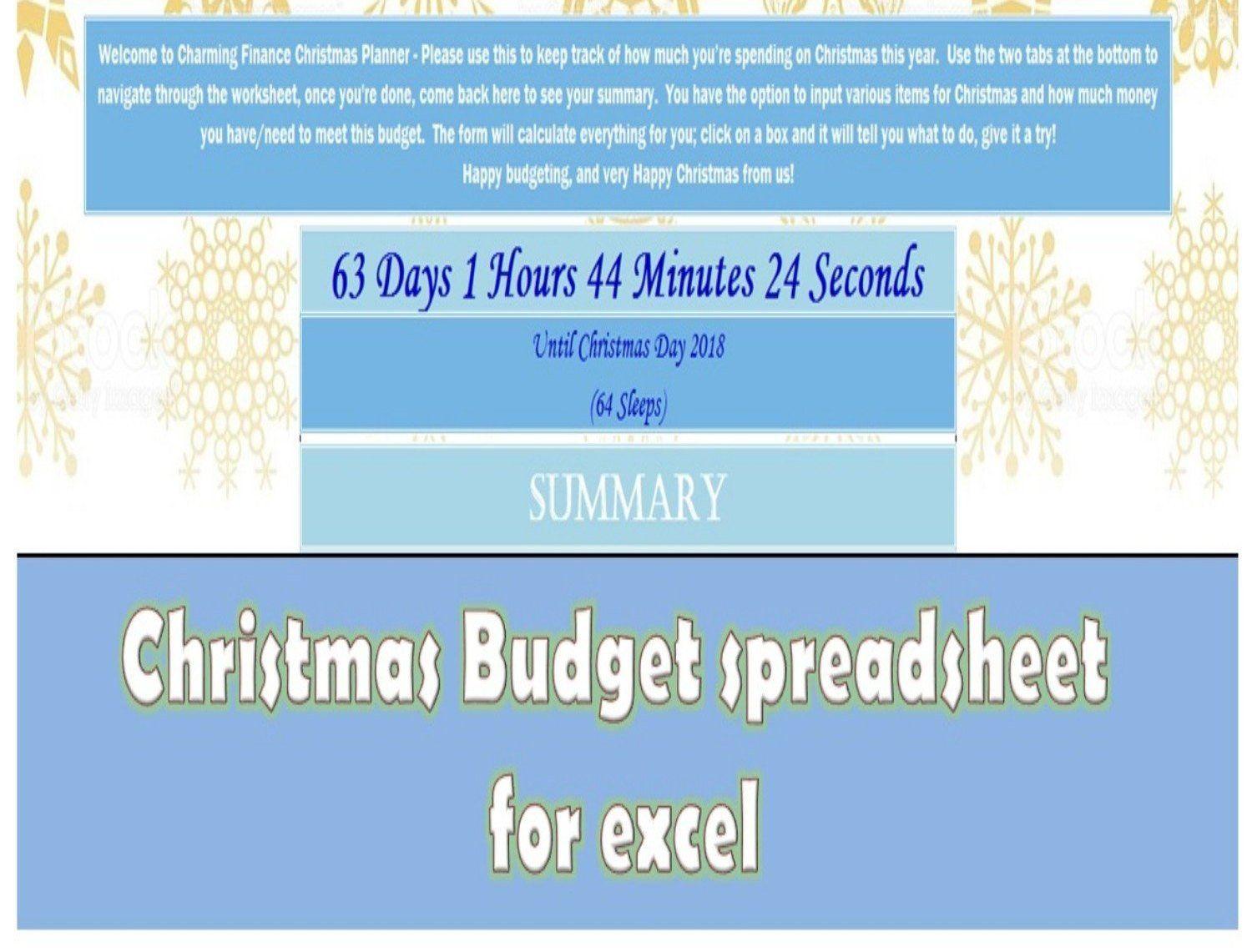 Christmas Shopping Budget Spreadsheet Printable Microsoft Excel